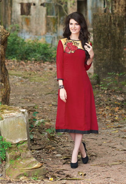 Red Embroidery Rich Designer Readymade Georgette Kurti - Barbaracute - 1