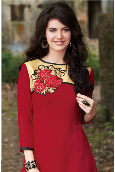 Red Embroidery Rich Designer Readymade Georgette Kurti - Barbaracute - 2