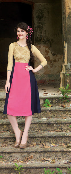 Golden & Pink Rich Designer Readymade Georgette Kurti - Barbaracute - 1
