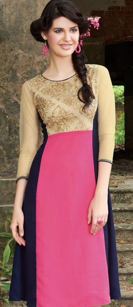 Golden & Pink Rich Designer Readymade Georgette Kurti - Barbaracute - 2