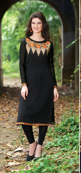 Black Rich Designer Readymade Georgette Kurti - Barbaracute - 1