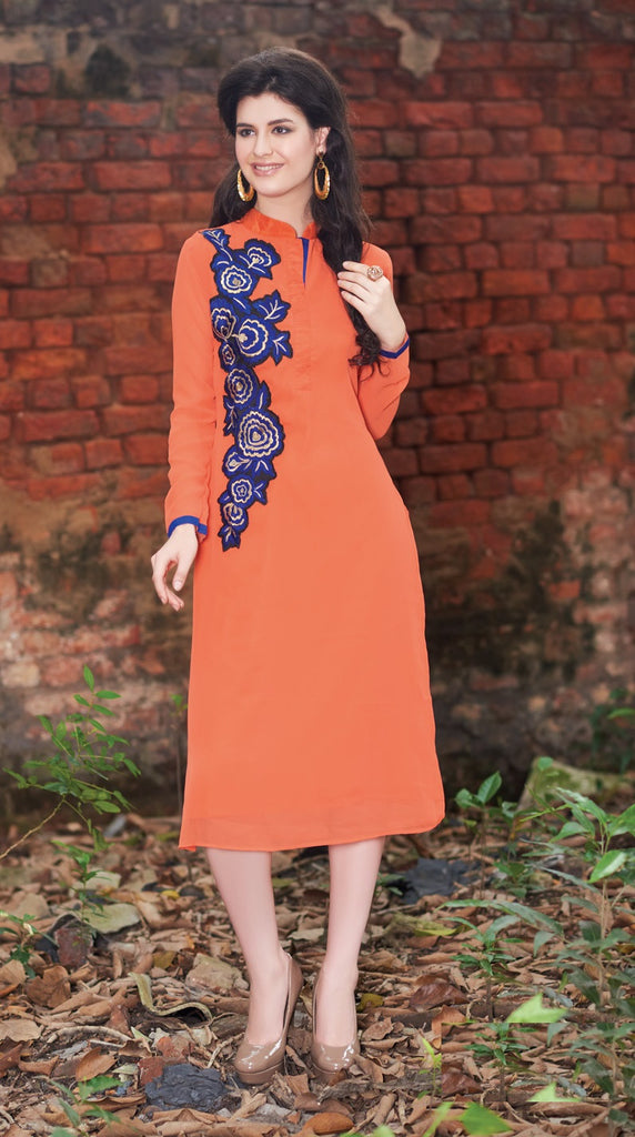 Orange Rich Designer Readymade Georgette Kurti - Barbaracute