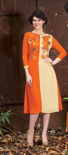 Orange & Cream Rich Designer Readymade Georgette Kurti - Barbaracute - 1