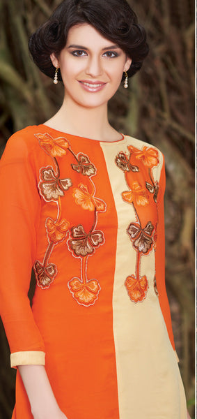 Orange & Cream Rich Designer Readymade Georgette Kurti - Barbaracute - 2