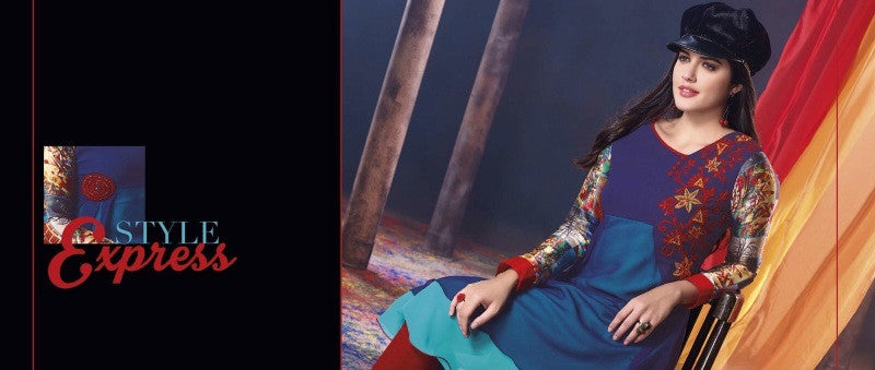 Blue with Embroidery Rich Designer Readymade Georgette Kurti - Barbaracute - 1