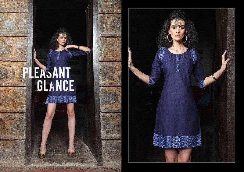 Navi Blue Designer Readymade Short Cotton Lawn Kurti - Barbaracute