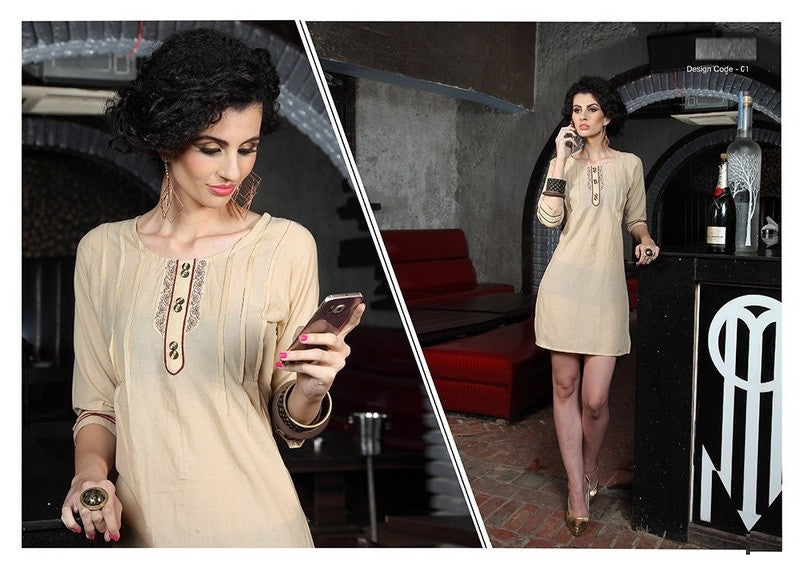 Beige Designer Readymade Short Cotton Lawn Kurti - Barbaracute