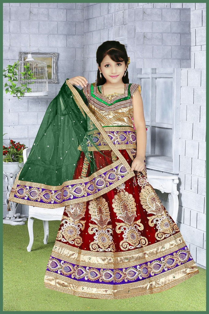 Red Net Readymade Lehenga Choli with Green Dupatta - Barbaracute
