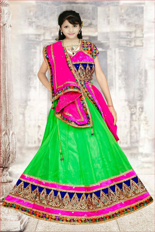 Green & Pink Net Readymade Lehenga Choli with Dupatta - Barbaracute