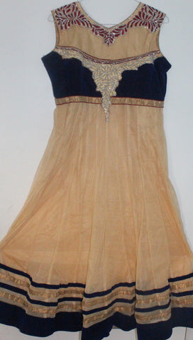 Beige Net Readymade Anarkali Churidar Dress - Barbaracute