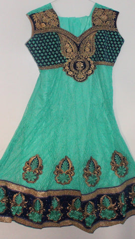 Green Net Readymade Anarkali Churidar Dress - Barbaracute