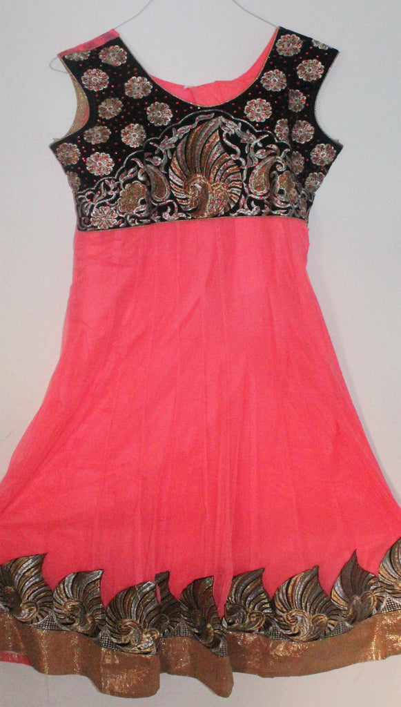 Pink Net Readymade Anarkali Churidar Dress - Barbaracute