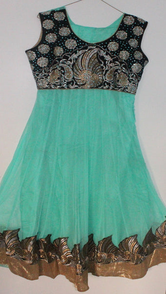 Turquoise Net Readymade Anarkali Churidar Dress - Barbaracute