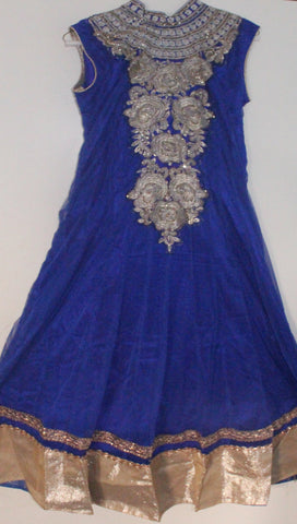 Blue Net Readymade Anarkali Churidar Dress - Barbaracute - 1