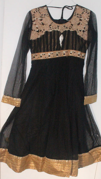 Black Net Readymade Anarkali Churidar Dress - Barbaracute - 1