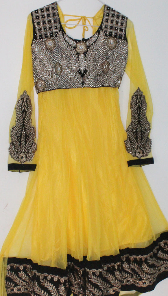 Yellow Net Readymade Anarkali Churidar Dress - Barbaracute