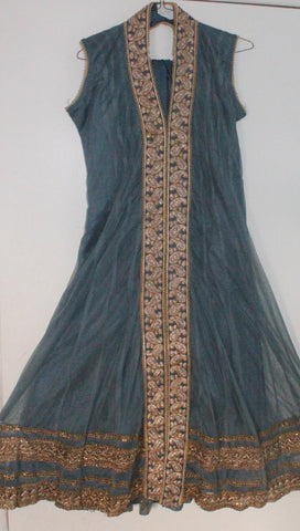 Grey Net Readymade Anarkali Churidar Dress - Barbaracute - 1