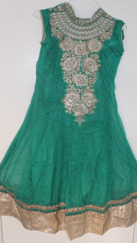 Green Net Readymade Anarkali Churidar Dress - Barbaracute - 1