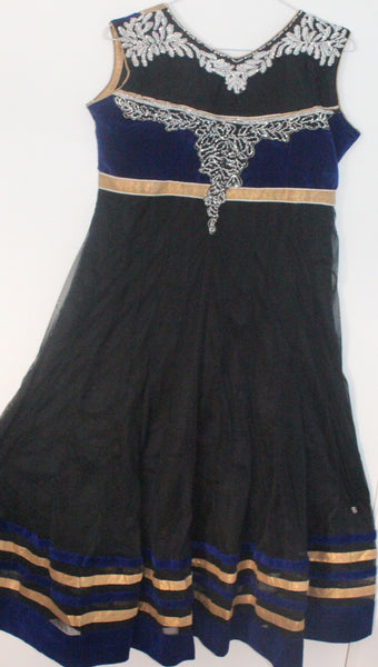 Black Net Readymade Anarkali Churidar Dress - Barbaracute
