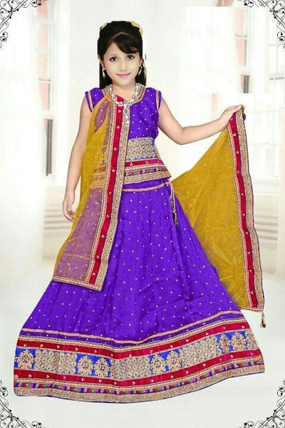 Blue Net Readymade Lehenga Choli with Yellow Dupatta - Barbaracute