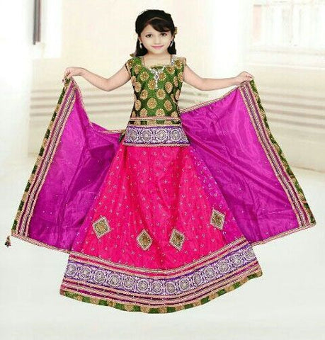 Green & Pink Net Readymade Lehenga Choli with matching Dupatta - Barbaracute