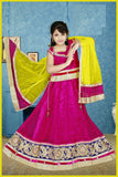 Pink & Yellow Net Readymade Lehenga Choli with Dupatta - Barbaracute - 1