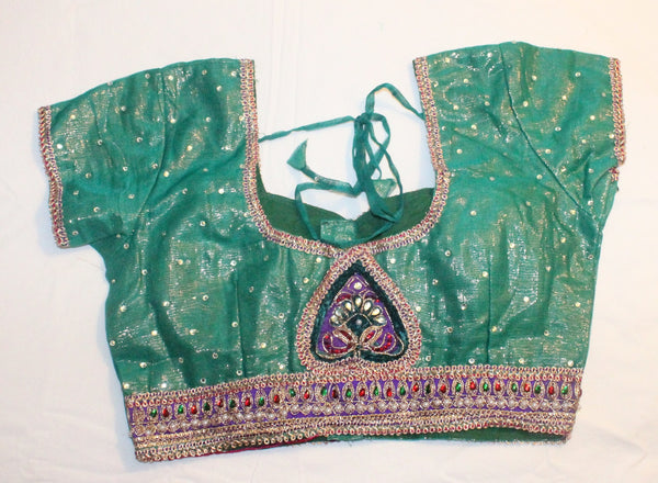 Green Color Net Readymade Embroidered Blouse - Barbaracute - 2