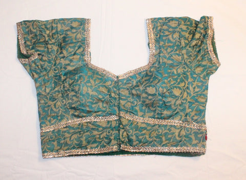 Blue Green Cotton Silk Readymade Blouse - Barbaracute - 1