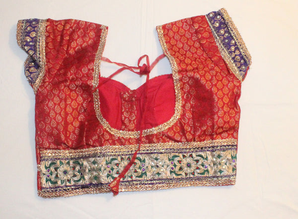 Red Color Brocade and Net Readymade Embroidered Blouse - Barbaracute - 2