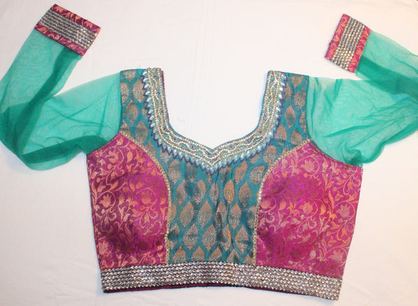 Multi Color Brocade and Net Readymade Embroidered Blouse - Barbaracute - 1