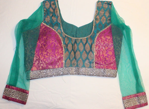 Multi Color Brocade and Net Readymade Embroidered Blouse - Barbaracute - 2