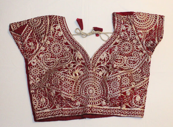 Red Color Velvet Readymade Embroidered Blouse - Barbaracute - 1