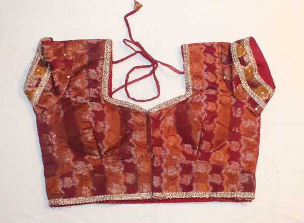 Maroon Color Brocade Readymade Embroidered Blouse - Barbaracute - 1
