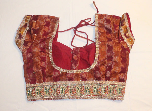 Maroon Color Brocade Readymade Embroidered Blouse - Barbaracute - 2