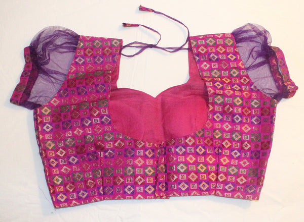 Pink Color Brocade and Net Readymade Blouse - Barbaracute - 2