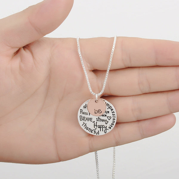 "Two-Tone ""Be"" Graffiti Inspirational Charm Necklace Silver Rose Gold Plated Pendant Necklace - Barbaracute - 3"
