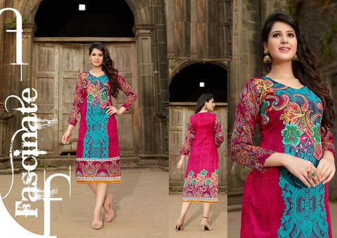 Designer Readymade Pashmina Kurti (Pink and Sky Blue) - Barbaracute