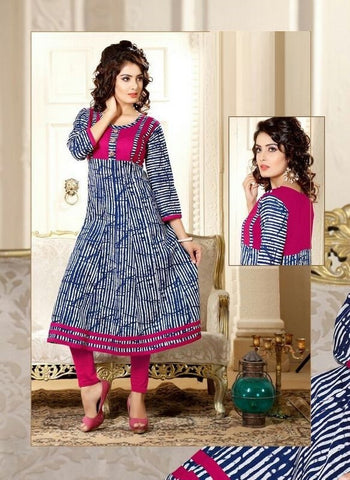 Blue & Pink Printed Readymade Cambric Cotton Anarkali Kurti - Barbaracute - 1