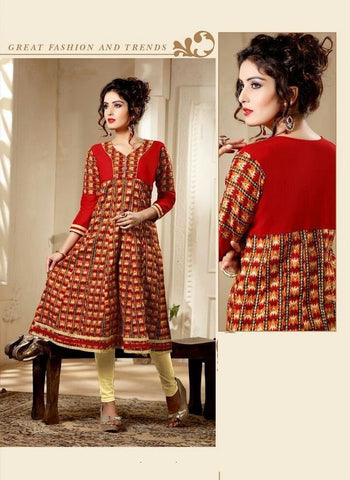 Red Printed Readymade Cambric Cotton Anarkali Kurti - Barbaracute - 1