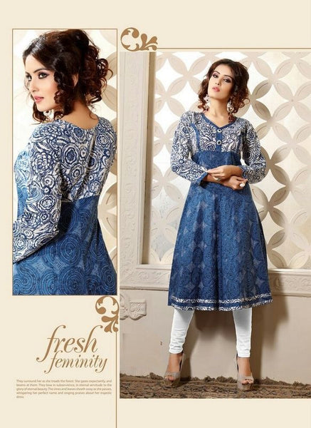 Light Blue Printed Readymade Cambric Cotton Anarkali Kurti - Barbaracute - 1