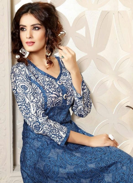Light Blue Printed Readymade Cambric Cotton Anarkali Kurti - Barbaracute - 2