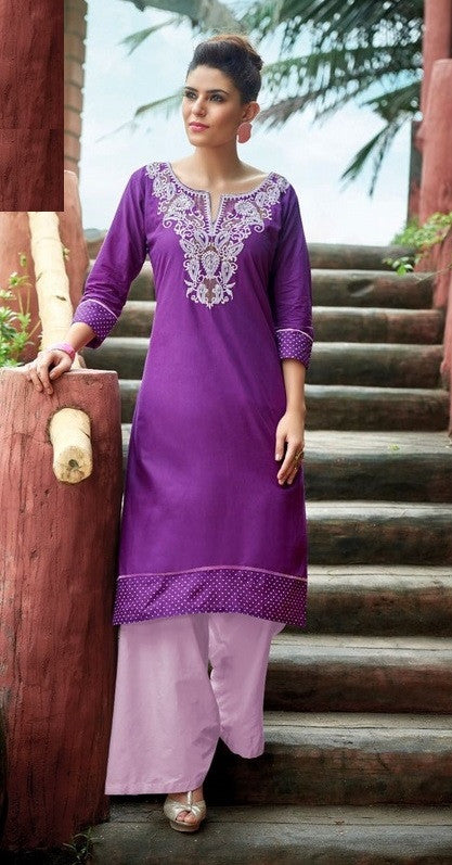 Purple Designer Readymade Cotton Kurti - Barbaracute