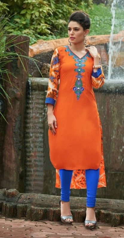 Orange & Blue Designer Readymade Rayon Kurti - Barbaracute