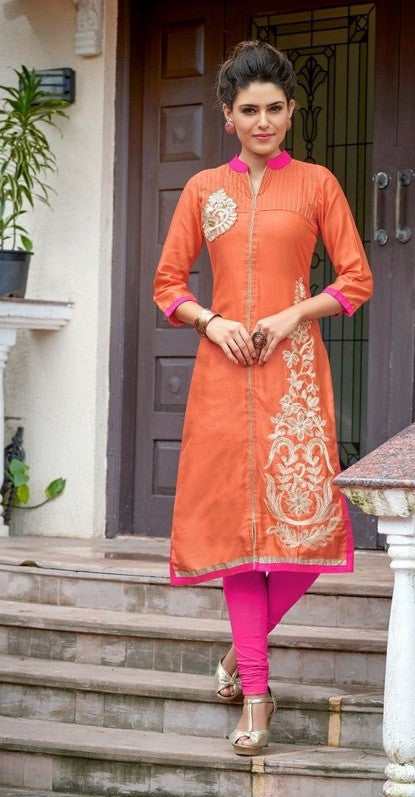 Orange Designer Readymade Rayon Kurti - Barbaracute