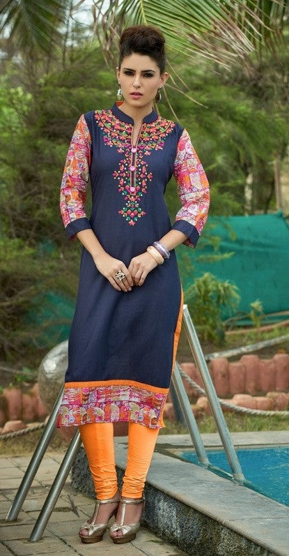 Blue Designer Readymade Cotton Kurti - Barbaracute