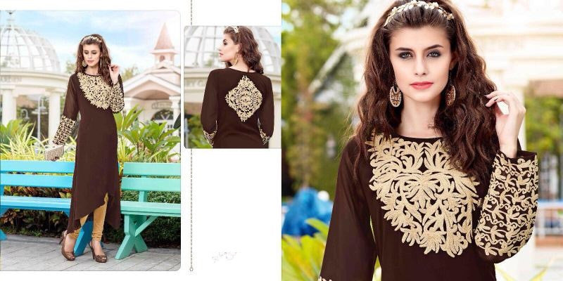 Brown Designer Readymade Georgette Kurti - Barbaracute