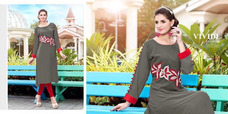 Grey & Red Designer Readymade Georgette Kurti - Barbaracute