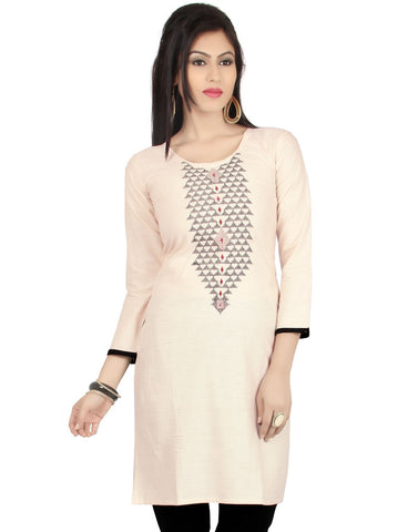 Khadi Cotton Kurti - Cream Color - Barbaracute