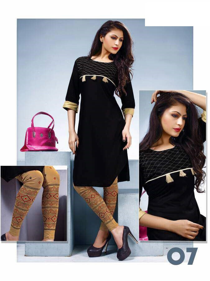 Black Rayon Kurti with printed Legging
