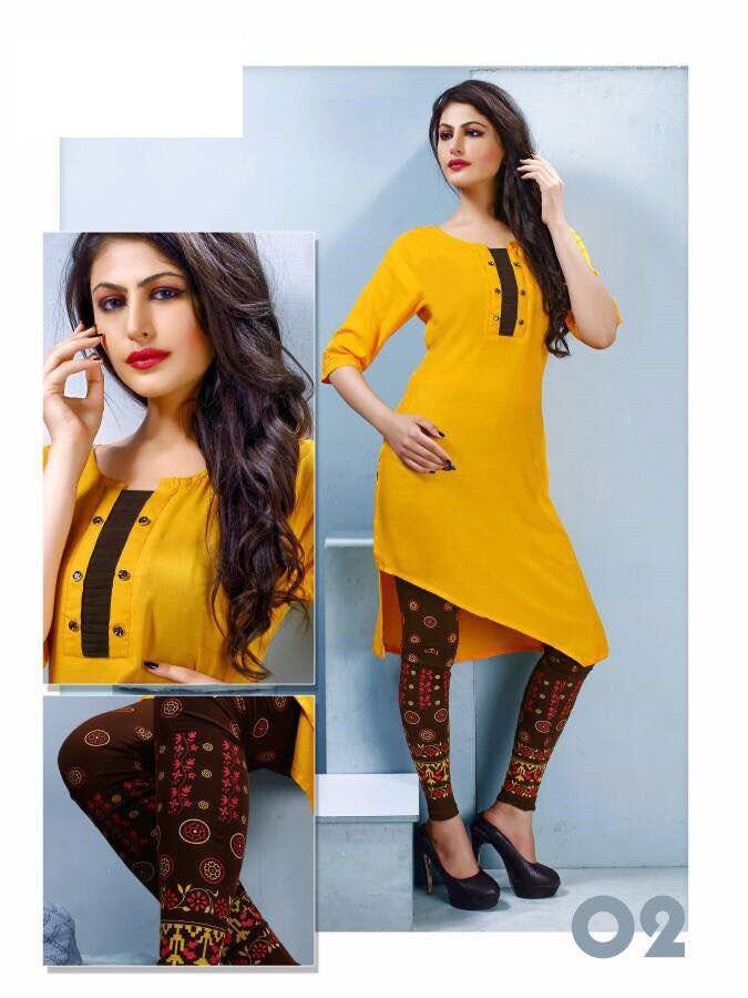 Yellow Rayon Kurti with printed Legging